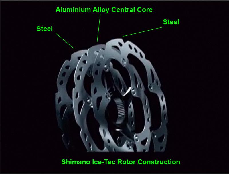 shimano icetec rotor scheibe kühlung alu aufbau