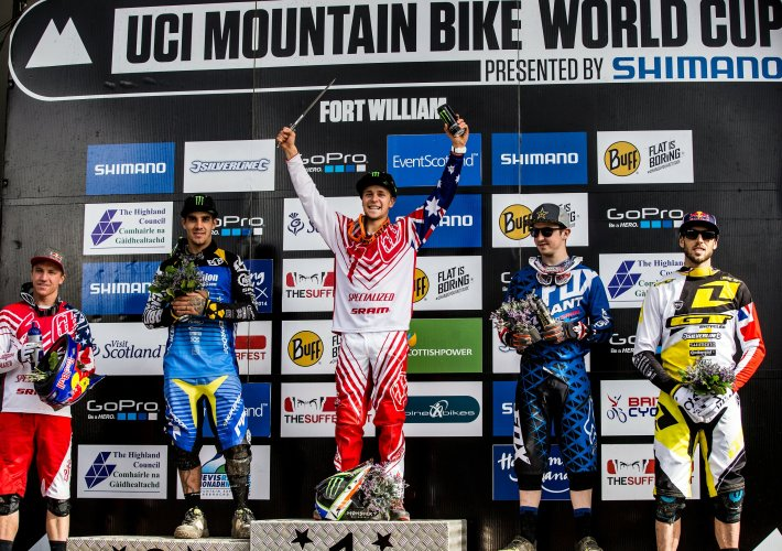 uci dh worldcup fort william 2014 podium troy brosnan sam hill