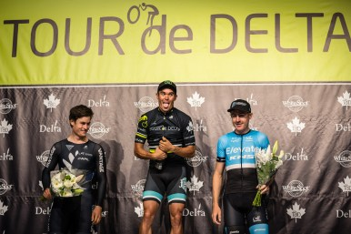 Travis McCabe wins the Ladner Crit (podium) ©Eibhir Photography