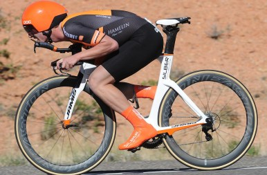 Pier-Andre slips comfortably into a tuck on his Jamis TT bike ©2017 Brian Hodes / VeloImages