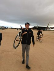 Our wrench, Yohan Patry, shows his cyclocross skills as Gord arrives in the background with the Jamis road bike