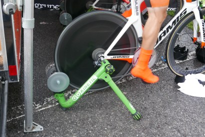 Kinetic trainers and veloToze shoe covers: part of our TT set up. pic: Scott McFarlane