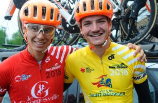 Charles-Étienne Chrétien in Red (Young Rider) and Pier-André Côté in Yellow (GC) #racinglife ©VeloImages