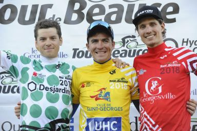 Stg 3b: Roberge was 7th on the stage, 2nd in GC and retained the Red Jersey. Sharing the podium with Silber alum Ben Perry (Canada) in dots, with Tvetcov (UHC) in yellow. ©VeloImages