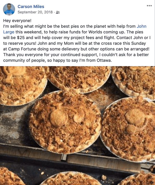 John Large organized pie sales to help Carson get to Worlds
