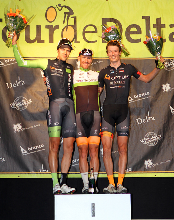 Garrett MCLEOD (H&R Block Pro Cycling Team) 2nd, Ryan ROTH (Silber Pro Cycling) 1st, Will ROUTLEY (Optum p/b Kelly Benefit Strategies) 3rd.