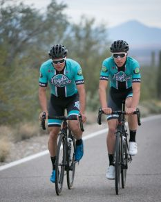 The guys will be wearing Louis Garneau helmets and glasses