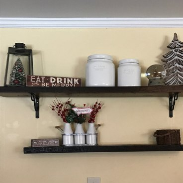Antique Oak Floating Shelves, roughsawn face, dark walnut stain, installed by Etsy customer