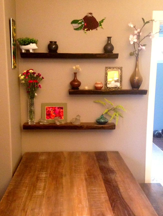 Antique oak floating shelves, installed by an Etsy customer