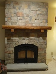 Live Edge Antique White Oak Mantel with Simple Corbels