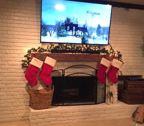 Hand-hewn Antique Oak Mantel installed by an Etsy customer