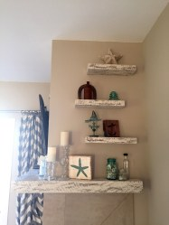 Rustic White-On-White Floating Shelves and custom corner mantel, installed by our Etsy customer
