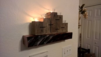 Salvaged sycamore live edge shelf installed, from our Etsy customer