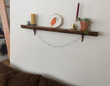 Antique Oak Floating Shelves installed by an Etsy customer