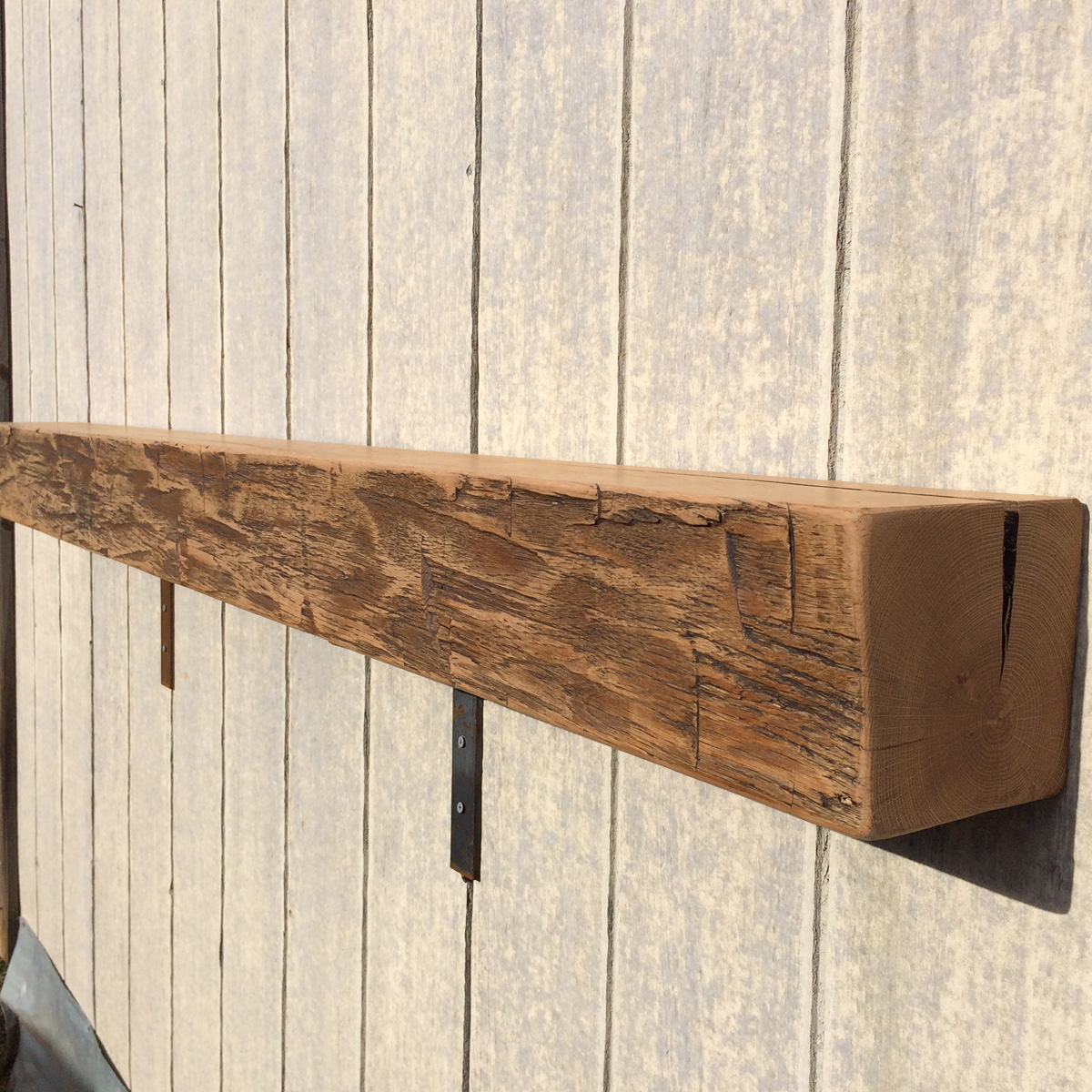 Reclaimed Wood Antique Oak Hand-Hewn Waxed Mantel, 72""