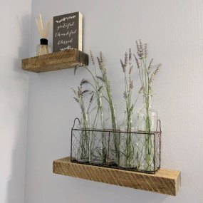 Buff colored rustic floating shelves installed by an Etsy Client