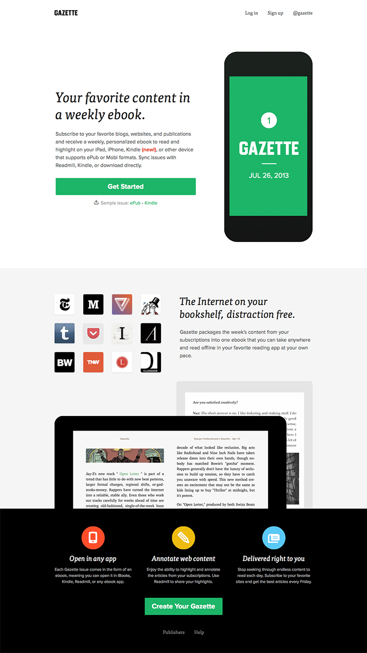Gazette - Your favorite content in a weekly ebook copy