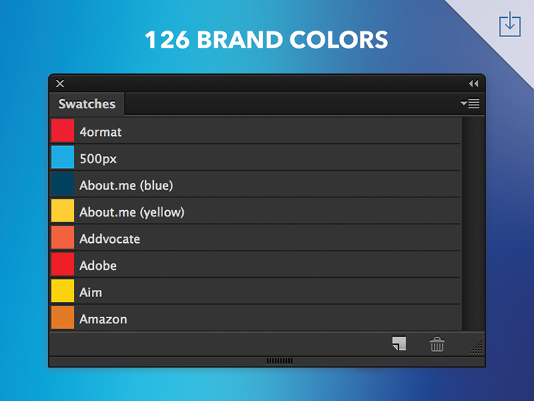 A photoshop colour palette of all the top brand colors