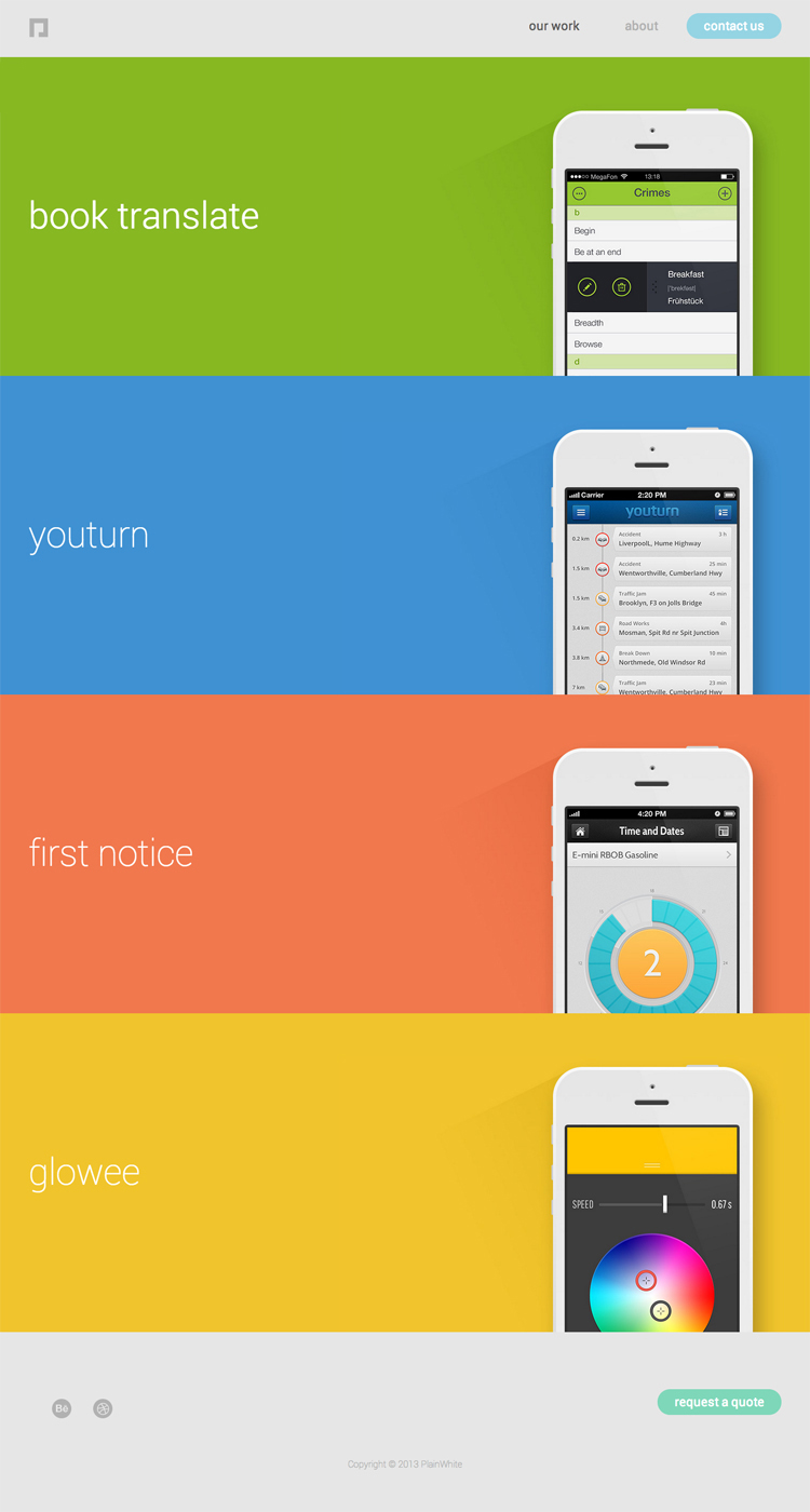An example of bold color usage and flat UI design