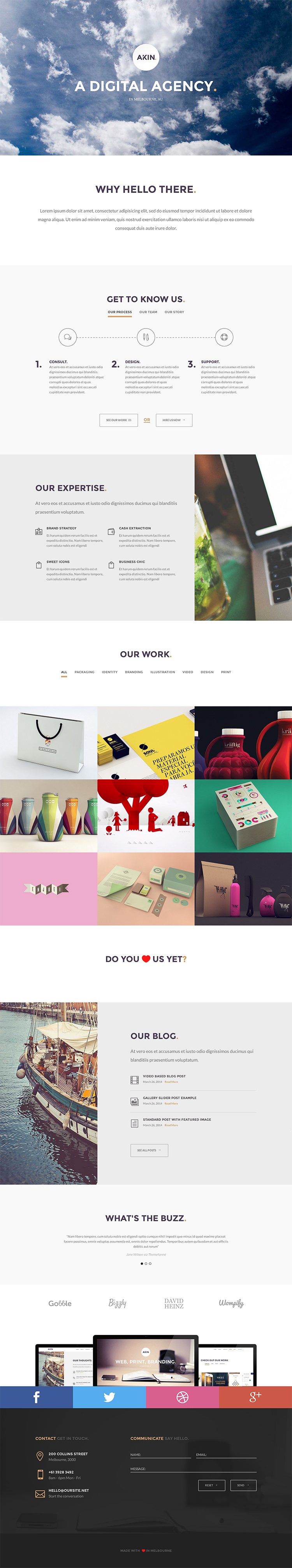 Akin is the perfect WordPress theme for those who desire sophisticated simplicity brought about by thoughtful design decisions. Featuring clean typography and subtle use of colours, Akin has a distinct personality that is both professional and playful.
