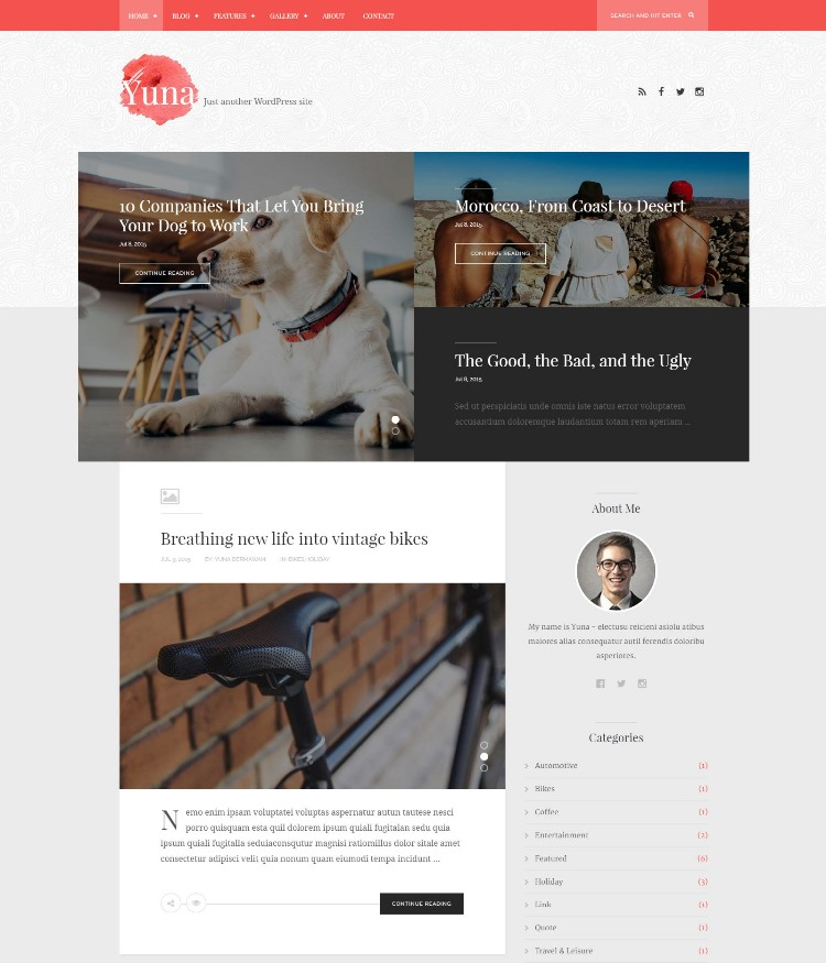 Yuna WordPress theme for writers