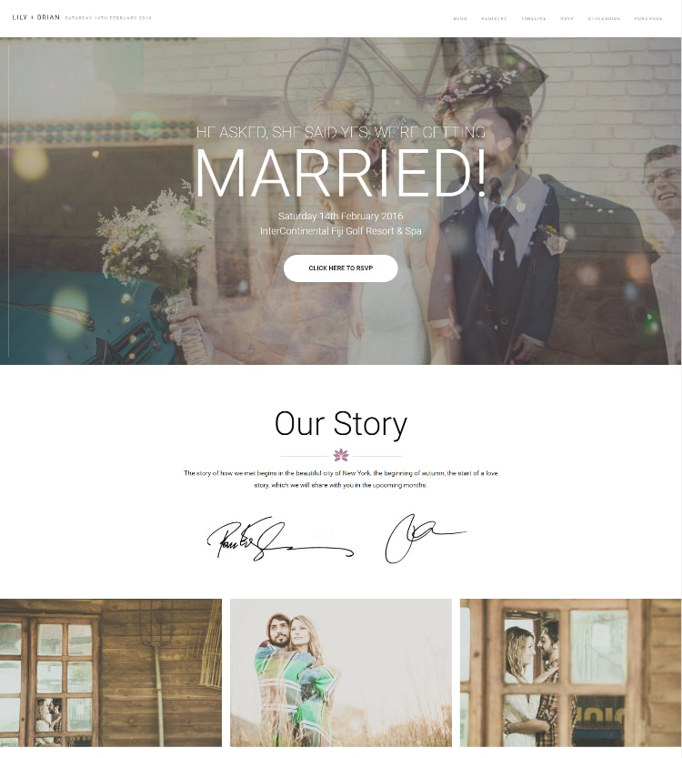 Lily wedding wordpress theme