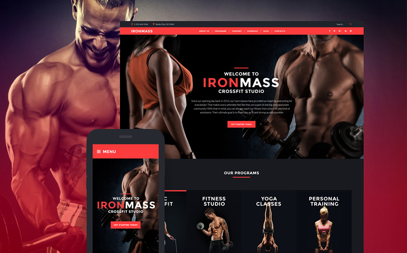 Sports fitness responsive template