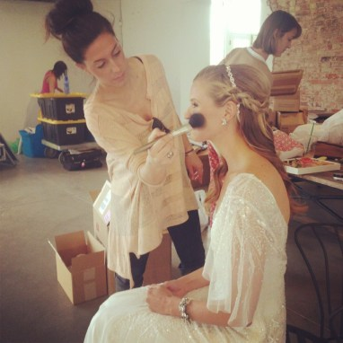 Bride Artistry Beauty Team Artist Doing Hair and Makeup for Bridal Photoshoot