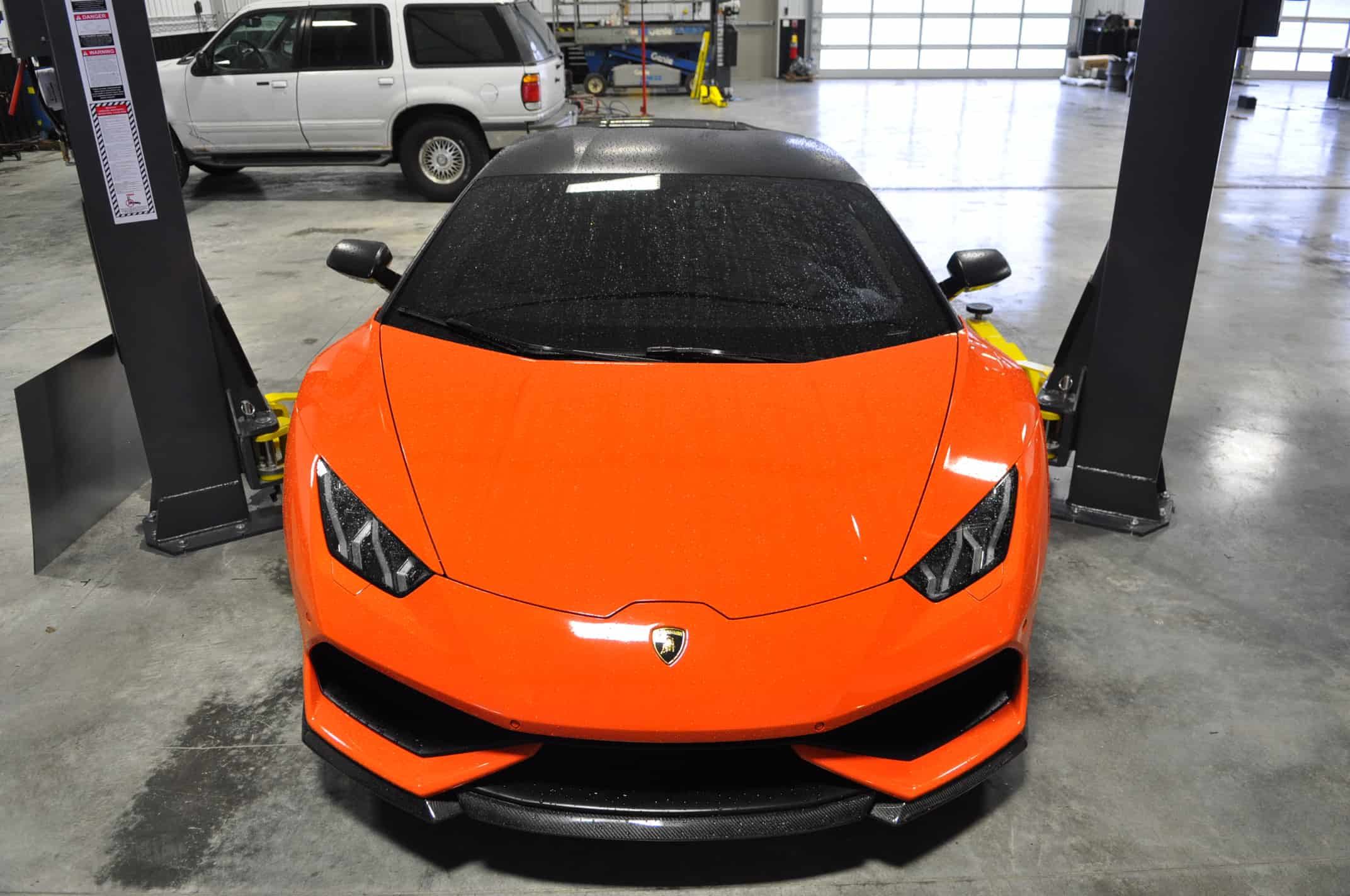 Powdercoat Lamborghini Naperville Orange Service Chicago front end