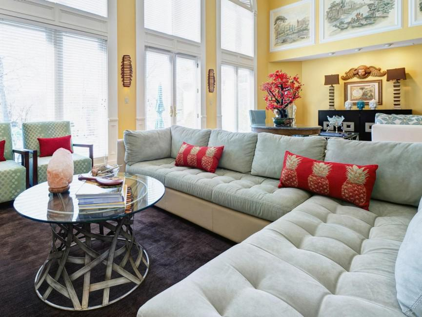 white tufted sectional designs