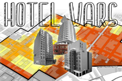 """A graphic image of three grey buildings in the center with the words """"HOTEL WARS"""" on top. The background is a digitally drawn layout of houses and buildings on streets and some are completely drawn in with red, yellow and orange."""