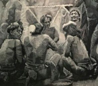 A painting of a group of indigenous people gather round to talk to each other.