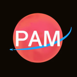 """Image Description: """"PAM"""" is written in large, white text in the center of a square image. Behind the word """"PAM"""" is a red circle with a curved, blue line that crosses the middle of the circle with a simple, small rocketship-esque symbol at the very end. The background is black."""