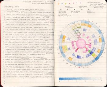 A page spread out of Yo-Yo Lin's Resilience Journal from the month of February. There is a circular diagram comprised of various sections filled in with different colors on the right side of the journal, and on the left side is detailed notes about her daily life with chronic illness.