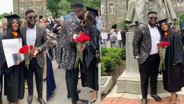 Image result for Davido's elder brother shares a kiss with his girl as she graduates from the University