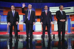 Republican presidential candidates Sen. Marco Rubio (R-FL), Donald Trump, Sen. Ted Cruz (R-TX), and Ohio Gov. John Kasich, participate in a debate.
