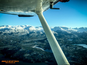 Flying over Kachemak Bay in Alaska.
