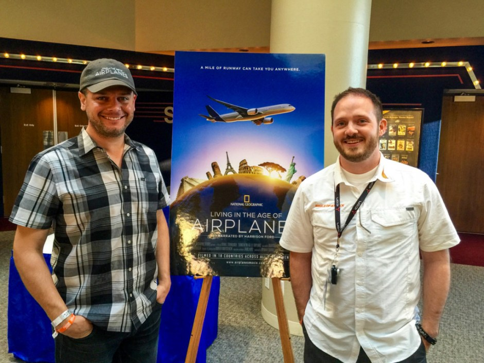 """Brian J Terwilliger, director of One Six Right and the new """"Living in the Age of Airplanes"""" did an exclusive AviatorCast interview with us. He got a shirt as well."""