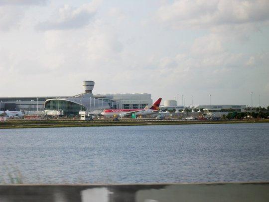 Terminal J at MIA from Dolphin Expressway