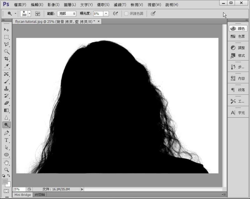 Photoshop 影像設計  - Photoshop 教學 - 色版去背 - 頭髮去背 - 標準教學 - fly-12