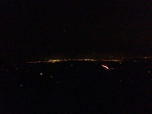 Dim city lights