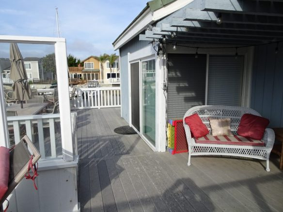 Shaded and open deck area overlooking the water channels