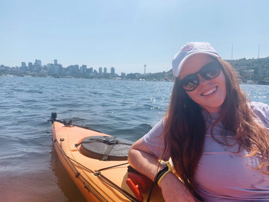 Woman on a kayak on Lake Union in Seattle