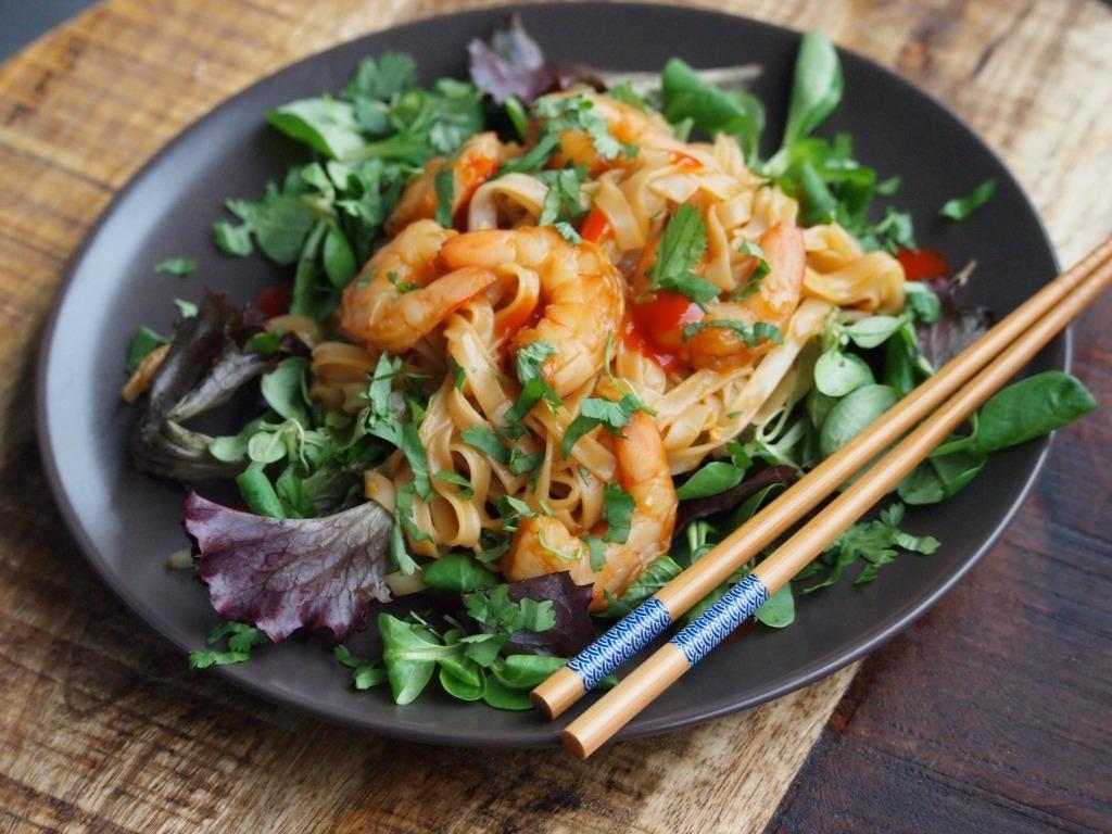 Snel noodle recept met garnalen