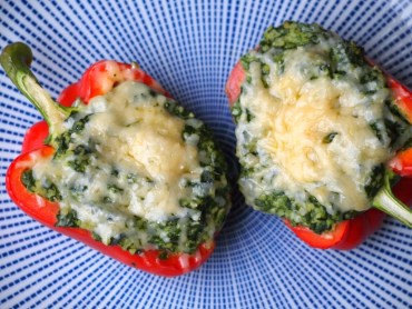 Gevulde paprika met spinazie boursin en bulgur