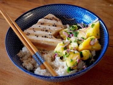 Recept Gegrilde Tonijn, Ananas Salsa en kokosrijst