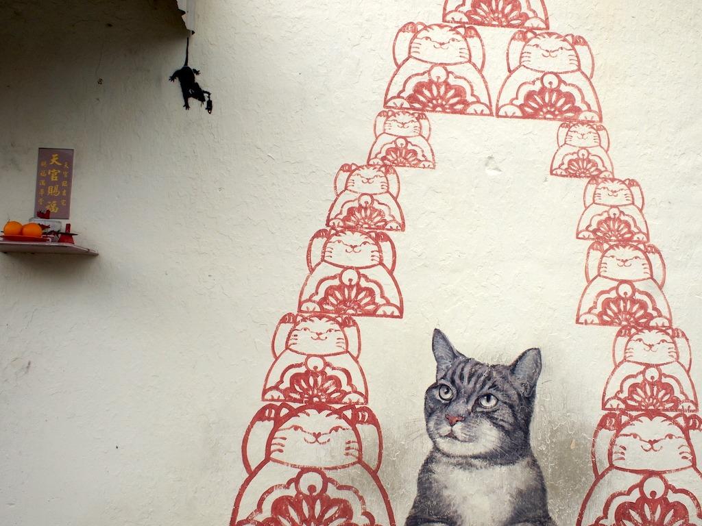 Street art George Town met poezen