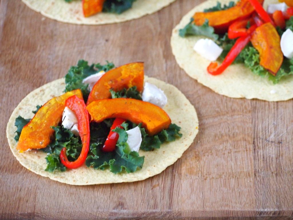 Taco's met met gegrilde pompoen