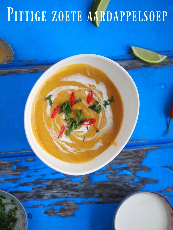 Zoete aardappel soep met rode curry