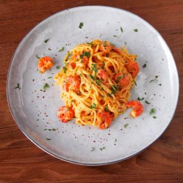 Bang Bang garnalen pasta's met gamba